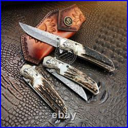 Vg10 Folding Knife Damascus Hunting Camping Rescue Pocket Knife Sheath Horn Gray