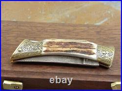 Vintage 1980 Browning Germany Sambar Stag Damascus Steel Lock Back Folding Knife