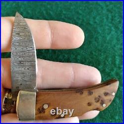 Vintage Boker Solingen Germany Damascus Gents Lockback Folding Pocket Knife