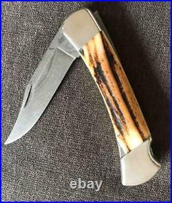 Vintage Buck 110 Stag & Damascus Folding Hunter Knife Unused