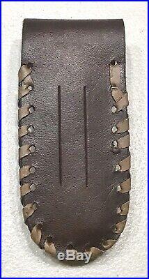 Vintage Custom Damascus Pocket Folding Lockback Dagger Knife Leather Sheath