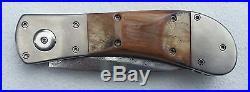 Vintage Custom one-of-a-kind Pat Crawford Damascus Folding Knife RARE