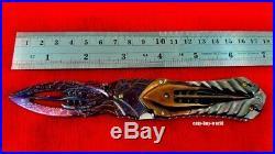 Vintage Damascus Steel Custom Folding Knife Craft Handle with Black Shell Brass