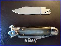 Vintage Italian Massaro Lever Lock Flick Folding Knife Damascus Shell Puller