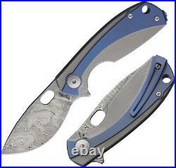 Viper Lille Framelock Folding Knife 2.5 Damascus Steel Blade Titanium/Damascus