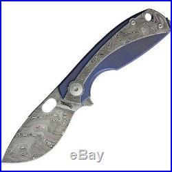 Viper VA5964TIBL Lillie 2.5 Damascus Steel Blue Handle Framelock Folding Knife