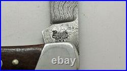 Vtg Couteau Collection Buck Cerf et Damas Custom Folding Pocket Knife Damascus