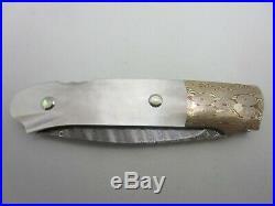 W. D. Pease Custom Handmade Folding Knife Unused Mint Damascus Mokume