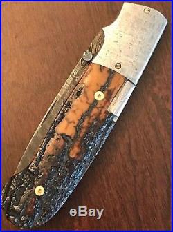 W. D. Pease Knives Custom Meteorite Damascus Mammoth Bark Side Lock Folding Knife