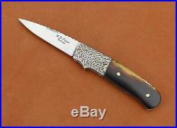 W. D. Pease Lock Back Folding Knife. Tortoise Shell Handle. Damascus Bolster