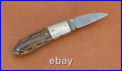 W. E. Ankrom Handmade Liner Lock Folding Knife. Damascus Blade, Mokume Bolsters