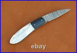 W. E. Ankrom Handmade Lock Back Folding Knife. Pearl, Damascus, Meteorite