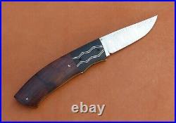 W. E. Ankrom Liner Lock Folding Knife. Stainless Damascus, Ironwood