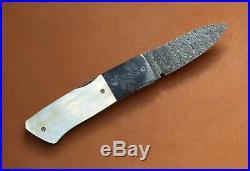 W. E. Ankrom Lock Back Folding Knife. Damascus Blade & Bolsters. Gold Lip Pearl