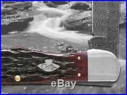 WR CASE Damascus Crimson Red Bone Folding Hunter 74174 Pocket Knives Knife