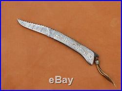 Wayne Valachovic Handmade Lock Back Folding Knife. All Damascus