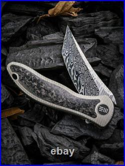 We Synergy 2 Framelock Folding Knife 3.5 Damascus Steel Blade Titanium Handle