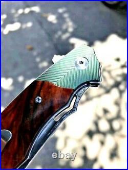 Wharncliffe Folding Knife Pocket EDC Hunting Tactical Damascus Steel Wood Handle