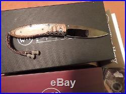 William Henry B05 Monarch Winter Hawk Folding Knife-DLC Damascus-Mokume-Ivory-CT