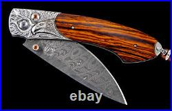 William Henry B12 Majestic Carved Silver & Damascus Folding Knife