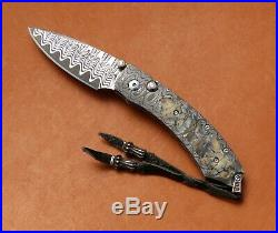 William Henry Interframe Button Lock Folding Knife Damascus Mammoth Tooth Inlays