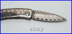 William Henry Pikatti B04-WMMC Folding Knife Copper Wave Damascus Steel