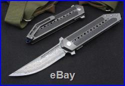Y-START Camping Knife Hunting Folding Knife Damascus Blade Titanium alloy Handle