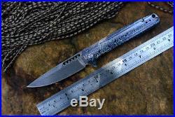 Y-START Folding Knife Limited Edition LK5015D Damascus Blade Titanium handle