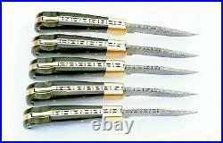 (lot Of 5)damascus Steel Blade Pocket Knife, Folding Lock Back, Horn Handle